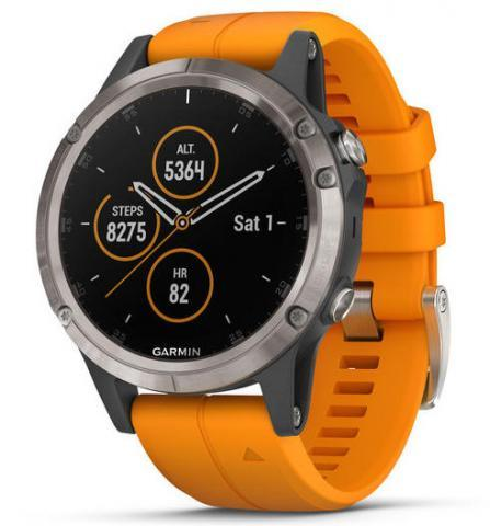 Garmin fenix 5 Plus Sapphire Titanium with Orange Band (010-01988-05)