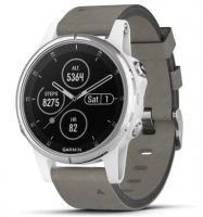 Garmin fenix 5S Plus Sapphire White with Gray Suede Band (010-01987-05)