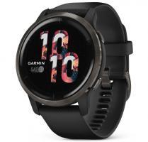 Garmin Venu 2 Slate Stainless Steel Bezel with Black Case and Silicone Band (010-02430-11) - фото 1